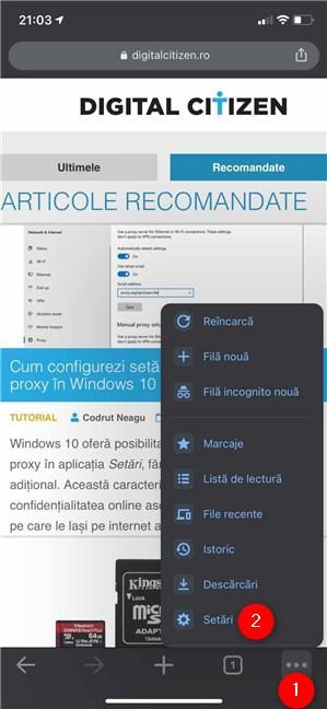 Accesează Setări în Chrome pentru iOS și iPadOS