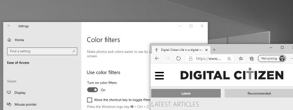 Filtru culoare Windows 10