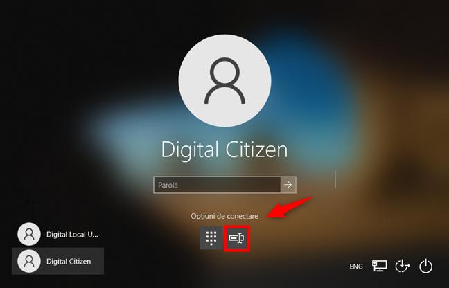 Opțiuni de conectare la Windows 10: Selectare parolă