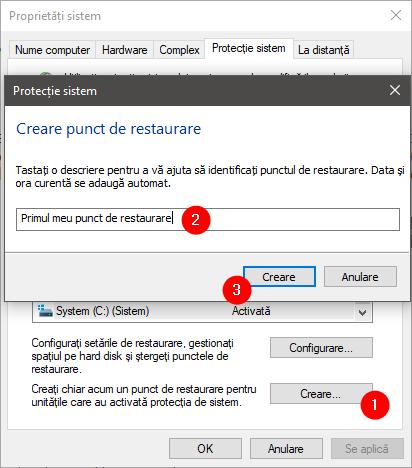 Crearea manuală a unui punct de restaurare în Windows 10
