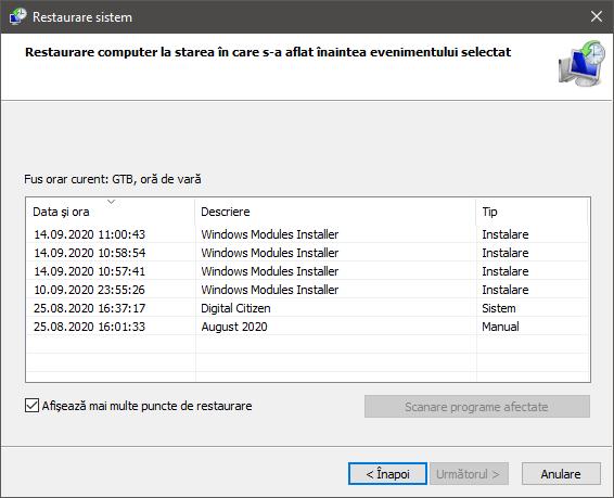 Cum vezi punctele de restaurare sistem din Windows 10