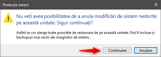 Ștergerea tuturor punctelor de restaurare în Windows 10
