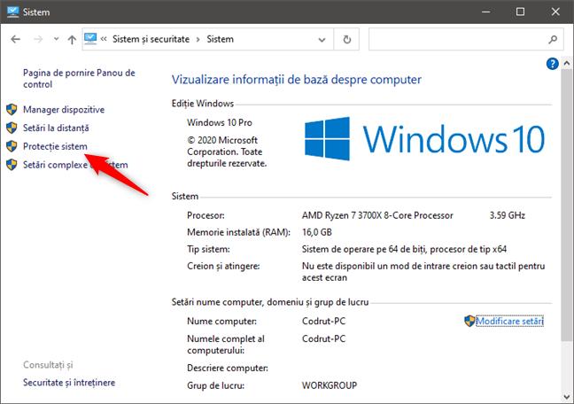 Deschidere Protecție sistem în Windows 10