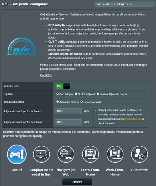 Prioritizează jocurile pe un router ASUS RT-AX82U