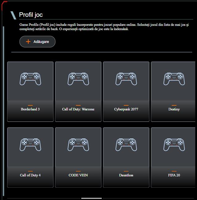 Configurarea profilelor de jocuri pe un router ASUS RT-AX82U