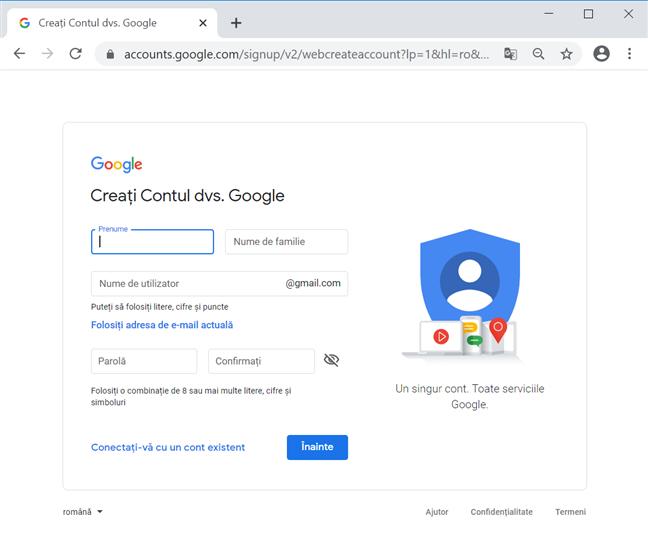 Creează-ți contul Google