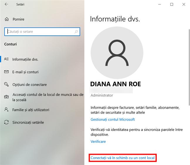 Conectează-te cu un cont local în loc de unul Microsoft