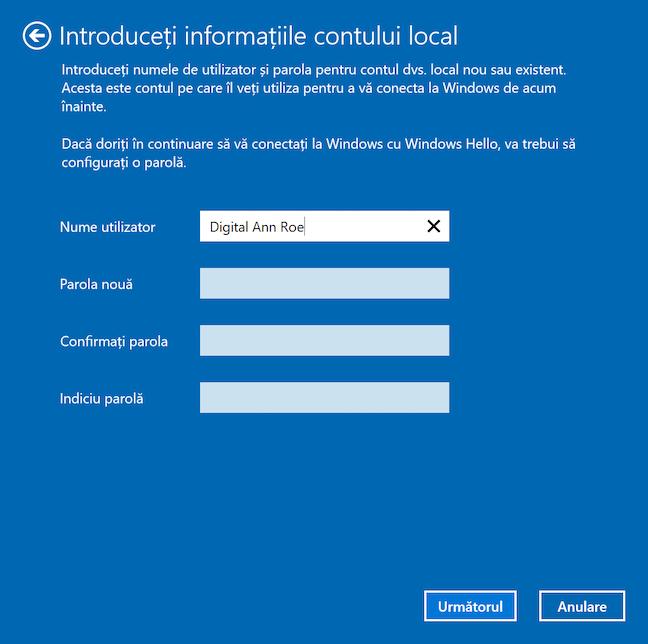 Introdu informația necesară pentru contul tău local