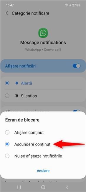 Cum ascunzi conținutul notificărilor din WhatsApp pe Samsung Galaxy