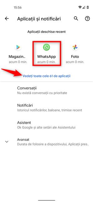 Apasă pe WhatsApp pentru a-i vedea setările