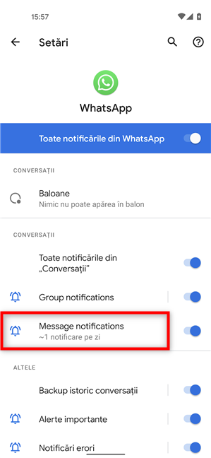 Accesează Message notifications