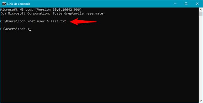 Salvează lista de utilizatori într-un fișier folosind net user > numefisier.txt