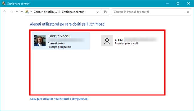 Panoul de control afișează lista de utilizatori activi de pe un calculator cu Windows