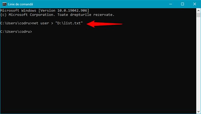 Exportă lista CMD de utilizatori într-un fișier dintr-o locație pe care o alegi tu