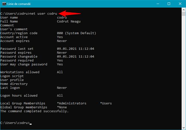 Cum obții detalii despre un cont de utilizator în CMD, folosind comanda net user