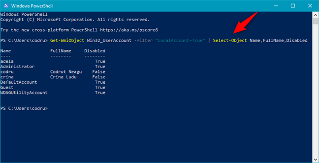 """Get-WmiObject Win32_UserAccount -filter """"LocalAccount=True""""   Select-Object Name,FullName,Disabled"""