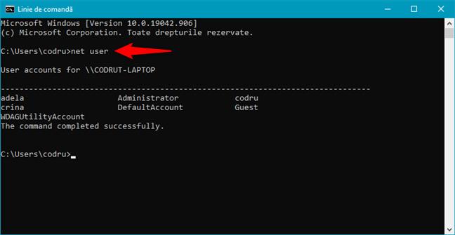 Rulează comanda net user pentru a face Windows CMD să afișeze utilizatorii