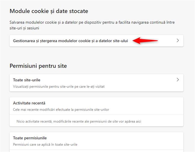Gestionarea și ștergerea modulelor cookie și a datelor site-ului