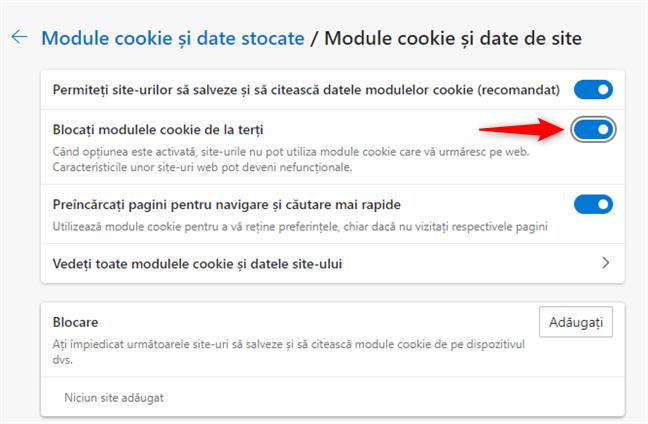 Blocarea cookie-urilor provenite de la terțe părți în Edge