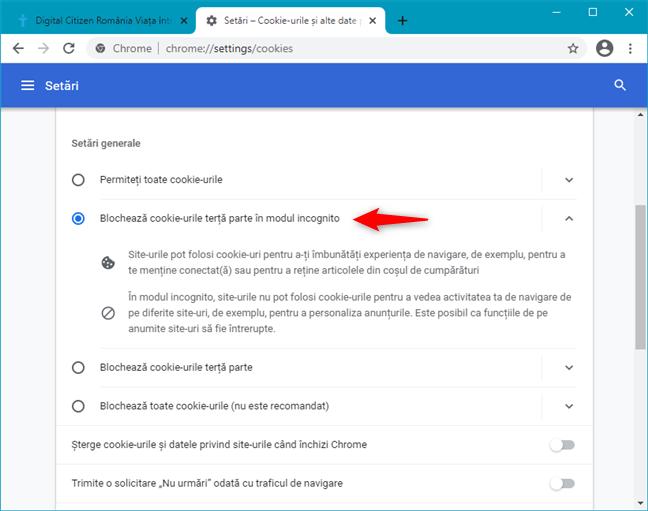 Google Chrome blochează cookie-urile provenite din terțe părți, în modul incognito