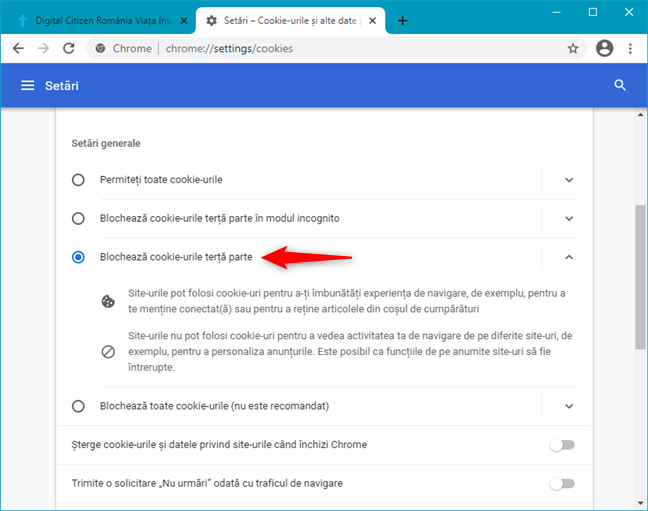 Blochează cookie-urile din terță parte în Google Chrome