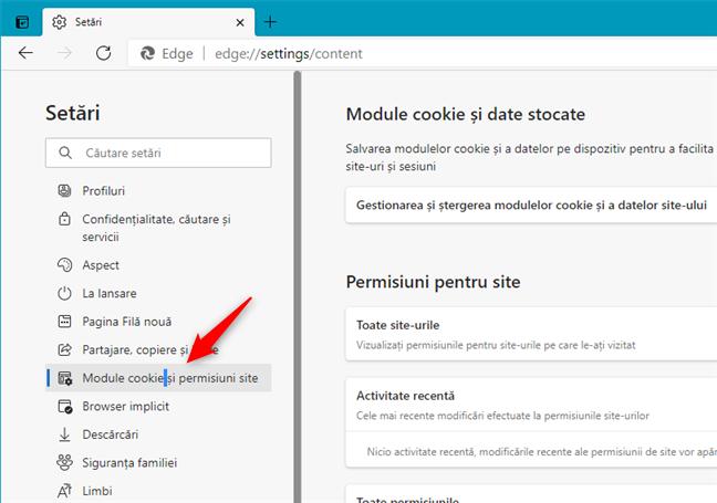 Deschide Module cookie și permisiuni site în Edge