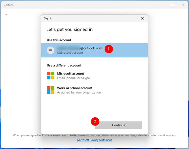 Folosește-ți contul Microsoft cu Cortana