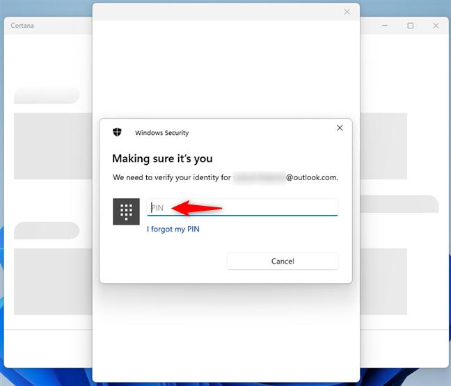 Tastează codul PIN pe care l-ai setat pentru contul tău Microsoft