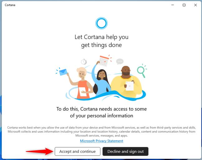 Permite Cortanei să îți acceseze unele informații personale