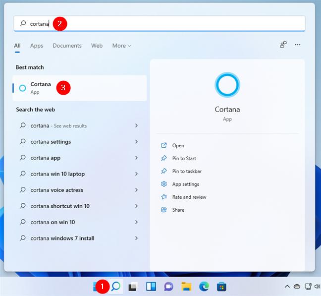 Cum deschizi Cortana în Windows 11 folosind căutarea