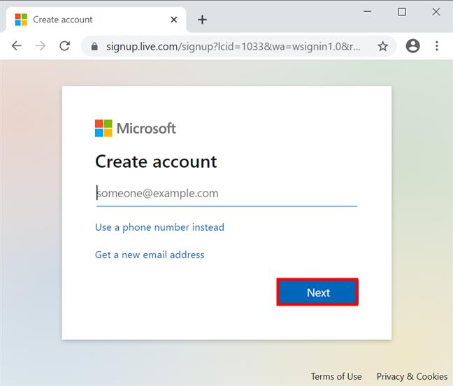 Introdu adresa ta principală de e-mail pentru crea un cont Microsoft