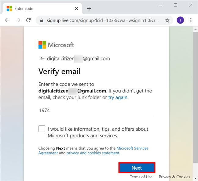 Verifică-ți e-mailul și apasă Next (Mai departe)