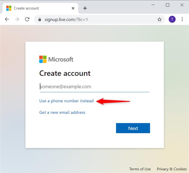 Folosește un număr de telefon pentru a crea un cont Microsoft fără e-mail