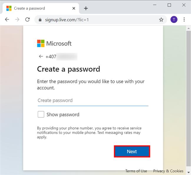 Creează o parolă pentru contul tău Microsoft