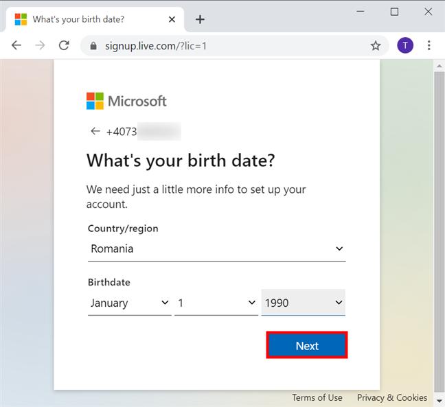 Completează mai multe date pentru noul tău cont Microsoft