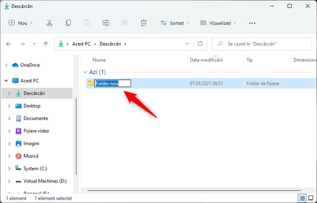 A fost creat un folder nou în Windows