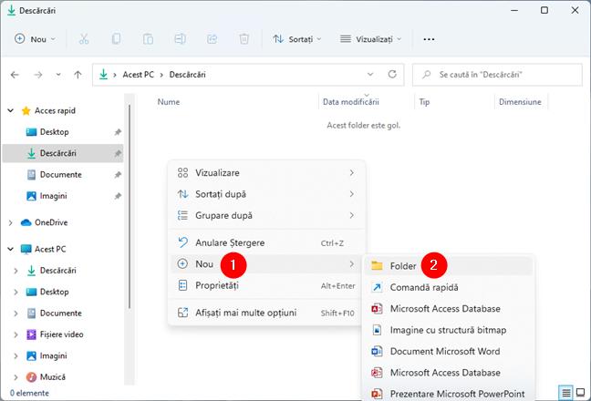 Cum creezi un folder nou în Windows din meniul clic dreapta