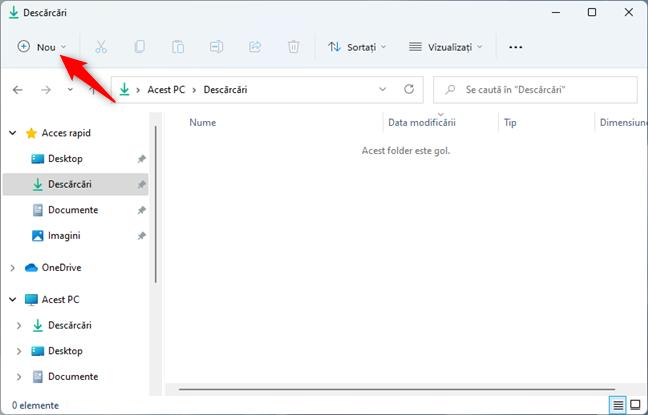 Butonul Nou din File Explorer, din Windows 11