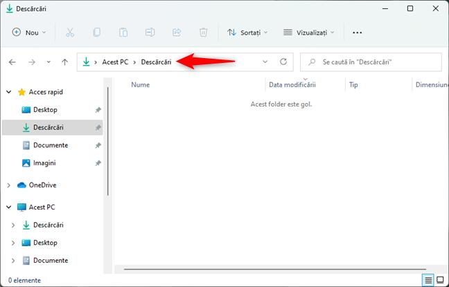 Mergi la locația unde vrei să creezi noul folder