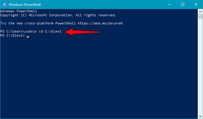 Comutarea la un alt folder folosind PowerShell
