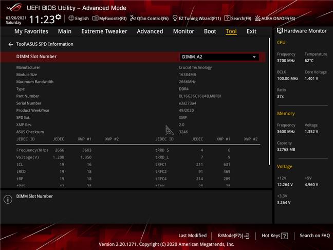 Profil XMP pentru Crucial Ballistix Gaming Memory DDR4-3600 32GB