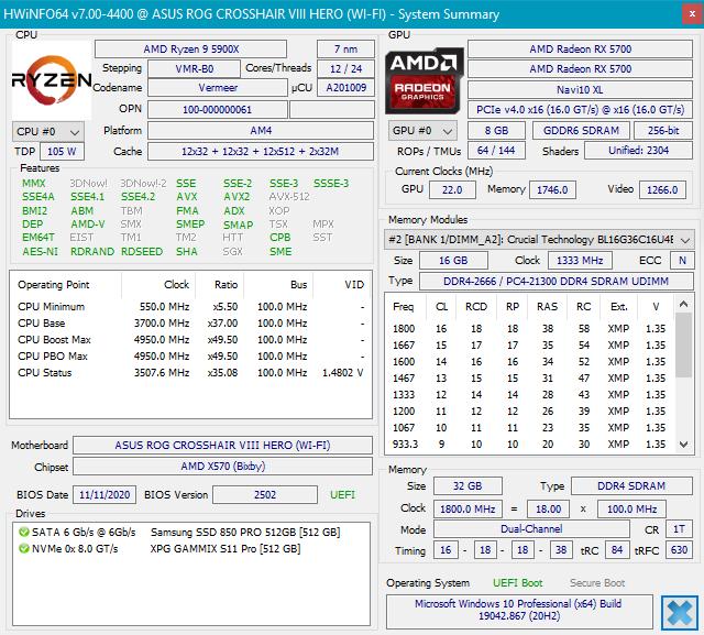 Detalii hardware despre PC-ul pe care l-am folosit pentru testarea memoriei RAM Crucial