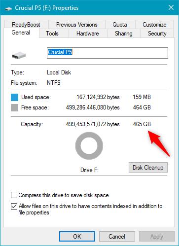 Detalii despre SSD-ul Crucial P5 , afișate de Windows 10