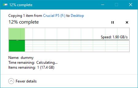 Copierea unui fișier mare de pe SSD-ul Crucial P5