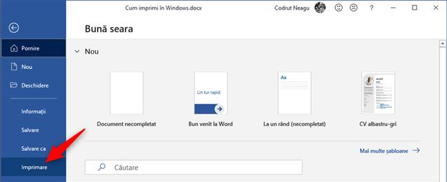 Opțiunea Imprimare din Microsoft Word