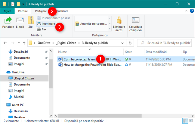 Cum imprimi în Windows: Opțiunea Imprimare din fila Partajare, din Explorer