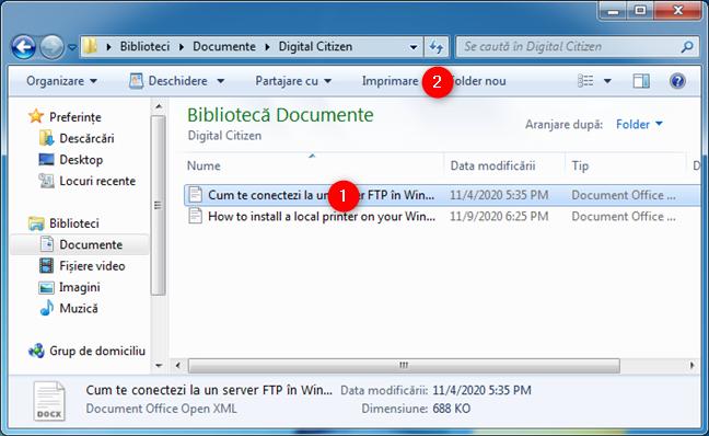 Cum imprimi în Windows 7: Opțiunea Imprimare din Windows Explorer