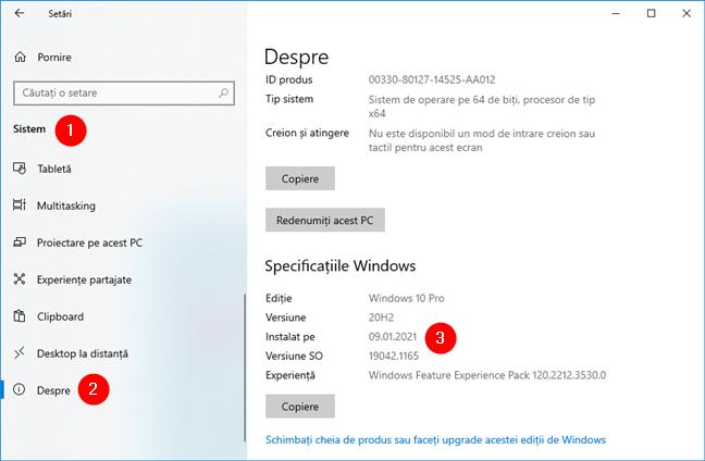 Cum verifici data de instalare a Windows 10 în Setări