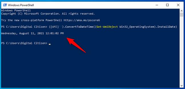 Vezi data de instalare a Windows în PowerShell