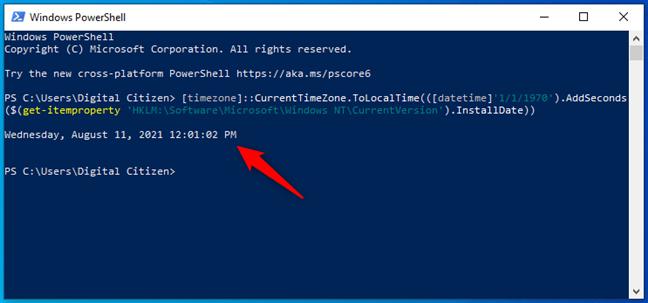 Descoperă data de instalare a Windows din PowerShell